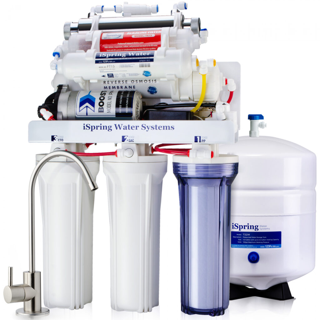 iSpring RCC1UP-AK 7 Stage 100 GPD UnderSink RO Drinking Water Filtration System With Booster Pump, Alkaline Ph+ Remineralization Filter And UV Filter